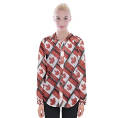 Canadian Flag Motif Pattern Womens Long Sleeve Shirt