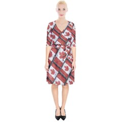 Canadian Flag Motif Pattern Wrap Up Cocktail Dress
