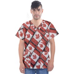 Canadian Flag Motif Pattern Men s V Neck Scrub Top