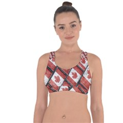 Canadian Flag Motif Pattern Cross String Back Sports Bra