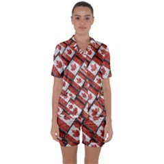 Canadian Flag Motif Pattern Satin Short Sleeve Pyjamas Set