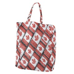 Canadian Flag Motif Pattern Giant Grocery Zipper Tote