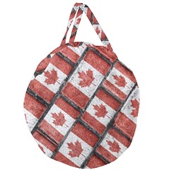 Canadian Flag Motif Pattern Giant Round Zipper Tote