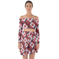 Canadian Flag Motif Pattern Off Shoulder Top With Skirt Set