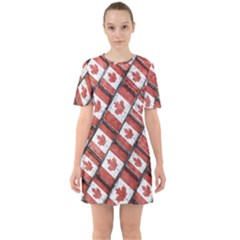 Canadian Flag Motif Pattern Sixties Short Sleeve Mini Dress