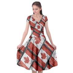 Canadian Flag Motif Pattern Cap Sleeve Wrap Front Dress