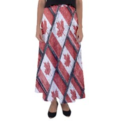 Canadian Flag Motif Pattern Flared Maxi Skirt