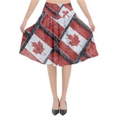 Canadian Flag Motif Pattern Flared Midi Skirt