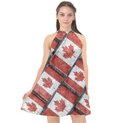 Canadian Flag Motif Pattern Halter Neckline Chiffon Dress
