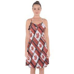 Canadian Flag Motif Pattern Ruffle Detail Chiffon Dress