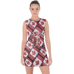 Canadian Flag Motif Pattern Lace Up Front Bodycon Dress