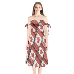 Canadian Flag Motif Pattern Shoulder Tie Bardot Midi Dress