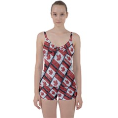 Canadian Flag Motif Pattern Tie Front Two Piece Tankini