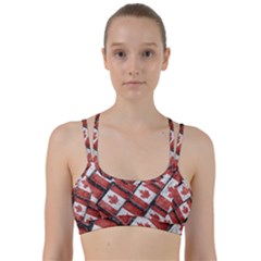Canadian Flag Motif Pattern Line Them Up Sports Bra