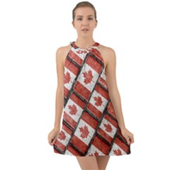 Canadian Flag Motif Pattern Halter Tie Back Chiffon Dress