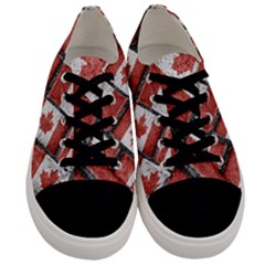 Canadian Flag Motif Pattern Men s Low Top Canvas Sneakers