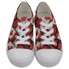 Canadian Flag Motif Pattern Kids  Low Top Canvas Sneakers