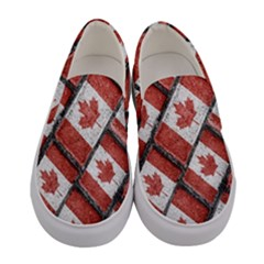 Canadian Flag Motif Pattern Women s Canvas Slip Ons