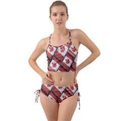 Canadian Flag Motif Pattern Mini Tank Bikini Set