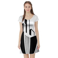 Tower City Town Building Black White Short Sleeve Skater Dress