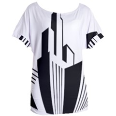 Tower City Town Building Black White Women s Oversized Tee