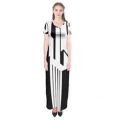 Tower City Town Building Black White Short Sleeve Maxi Dress