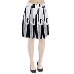 Tower City Town Building Black White Pleated Skirt
