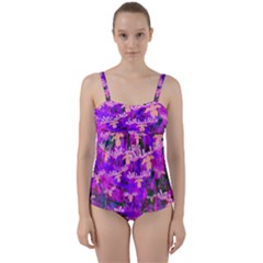 Watercolour Paint Dripping Ink Twist Front Tankini Set