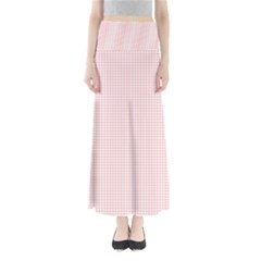 Red Line Plaid Vertical Horizon Full Length Maxi Skirt