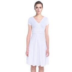 The Background Snow Snowflakes Short Sleeve Front Wrap Dress