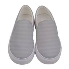 Grey Black Line Polka Dots Women s Canvas Slip Ons