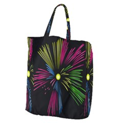 Fireworks Pink Red Yellow Green Black Sky Happy New Year Giant Grocery Zipper Tote