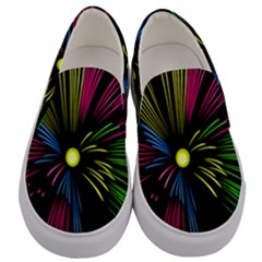 Fireworks Pink Red Yellow Green Black Sky Happy New Year Men s Canvas Slip Ons