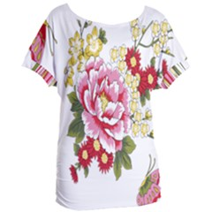 Butterfly Flowers Rose Women s Oversized Tee