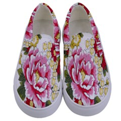 Butterfly Flowers Rose Kids  Canvas Slip Ons