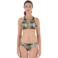Ribbons Black Yellow Perfectly Cut Out Bikini Set