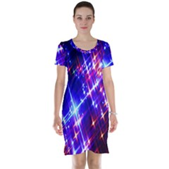 Star Light Space Planet Rainbow Sky Blue Red Purple Short Sleeve Nightdress