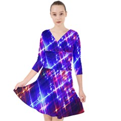 Star Light Space Planet Rainbow Sky Blue Red Purple Quarter Sleeve Front Wrap Dress