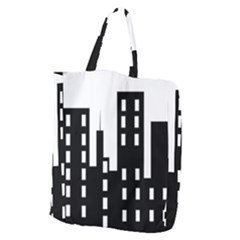 Tower City Town Building Black Giant Grocery Zipper Tote