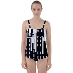 Tower City Town Building Black Twist Front Tankini Set