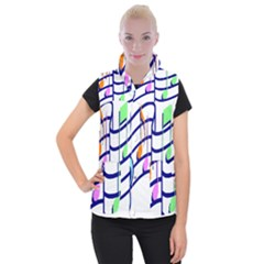 Music Note Tone Rainbow Blue Pink Greeen Sexy Women s Button Up Puffer Vest