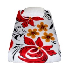 Flower Red Rose Star Floral Yellow Black Leaf Fitted Sheet (single Size)