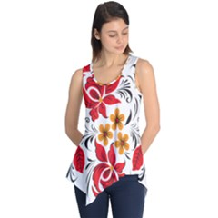 Flower Red Rose Star Floral Yellow Black Leaf Sleeveless Tunic