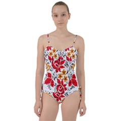 Flower Red Rose Star Floral Yellow Black Leaf Sweetheart Tankini Set