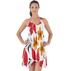 Flower Red Rose Star Floral Yellow Black Leaf Show Some Back Chiffon Dress