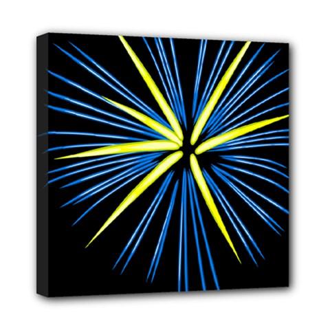 Fireworks Blue Green Black Happy New Year Mini Canvas 8  X 8