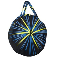 Fireworks Blue Green Black Happy New Year Giant Round Zipper Tote