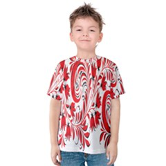Red Flower Floral Leaf Kids  Cotton Tee