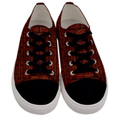 Brick1 Black Marble & Reddish Brown Leather Men s Low Top Canvas Sneakers
