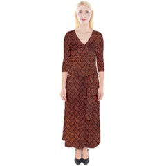 Brick2 Black Marble & Reddish Brown Leather Quarter Sleeve Wrap Maxi Dress